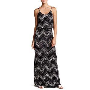 LUSH Chevron Black White Maxi Dress